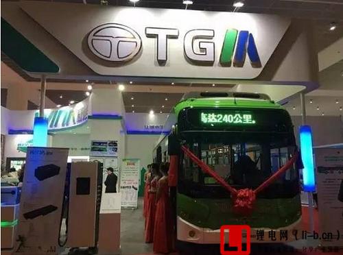 山东威能电源展台展出的搭载LG三元锂电池的韩国TGM纯电动公交车.png