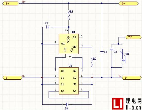 锂电池保护板的工作原理图