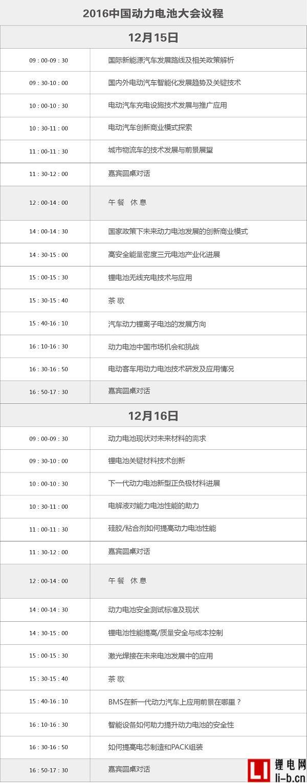 2016中国动力电池大会议程
