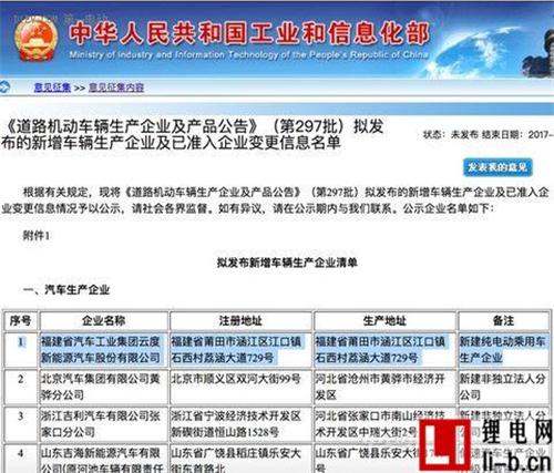 云度进入工信部297批公告 正式获纯电动乘用车生产资质