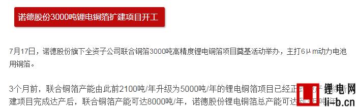 5家锂电铜箔投扩产 设计产能总规模高达12万吨