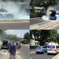 宝马i3警车街头自燃,火势难以控制