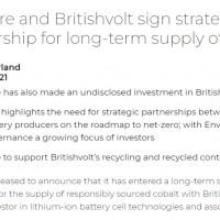 钴矿巨头入股英国锂电池厂Britishvolt 签订钴资源长期供应协议